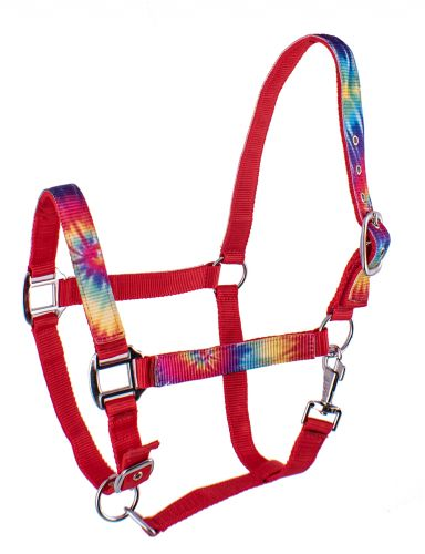 632 3ply Nylon Horse Sized Halter with Tie Dye design