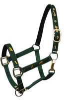 "6550C Cobb size nylon halter with ""running horse"" overlay."