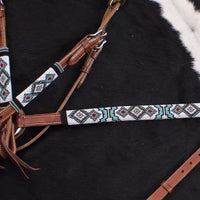7064X Turquoise and Red Navajo Beaded headstall and breast collar set