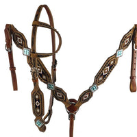 7090 Medium oil  leather one ear headstall with beaded southwest design