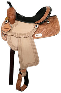 "16"" barrel saddle with silver laced black rawhide cantle"