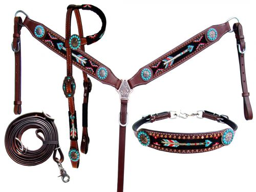 Showman ® 4 Piece beaded arrow headstall and breast collar set