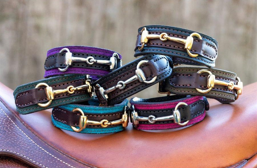 BR110BKPK SNAFFLE BIT BRACELET COLORED SUEDE WITH LEATHER OVERLAY