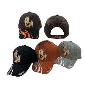 HT4111 DOUBLE HORSE WAVE BILL EMBROIDERED HAT