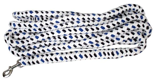 19013 21' braided cotton multi-colored softy lunge line with nickel plated bolt snap