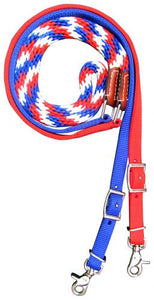 Premium braided Red, White, and Blue nylon contest reins 19584