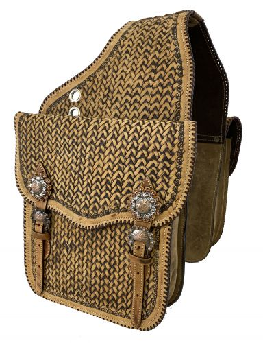 SB-69 Tooled leather  saddle bag  with  engraved antique bronze conchos