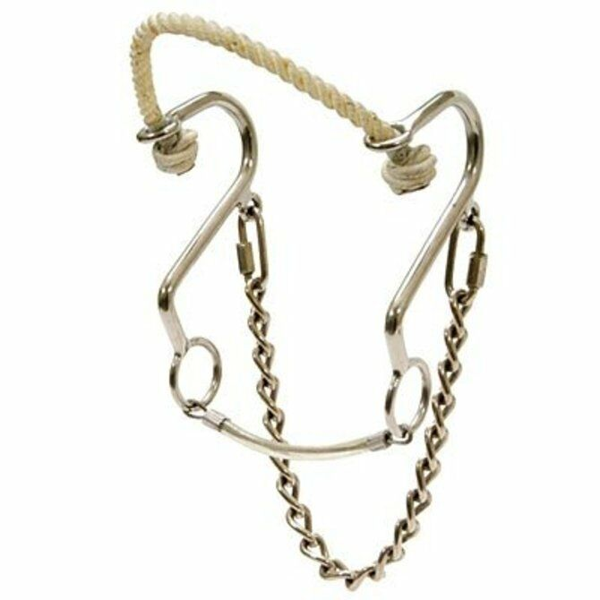 Showman Stainless Steel Rope Nose Little S Hackamore