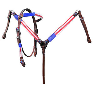 13749 Showman American Flag Beaded headstall and breast collar set