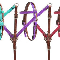 Mini Size Glitter overlay leather headstall and breast collar set 13888