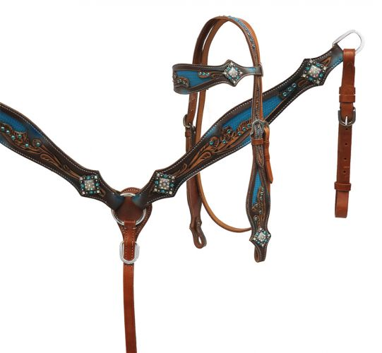 Crystal rhinestone headstall and breast collar set with blue inlay