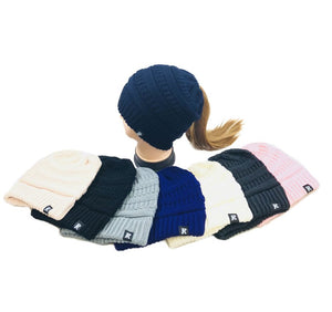 WN5647 KNITTED PONY TAIL BEANIE [SOLID COLORS]