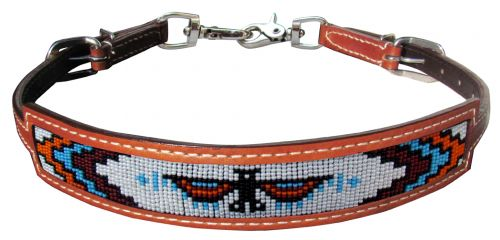19576 Showman Medium leather wither strap with beaded Native American Thunderbird inlay