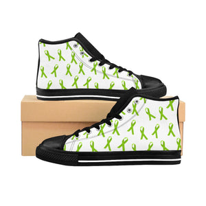 High-top Sneakers (Women) - Mental Health Ribbons Pattern