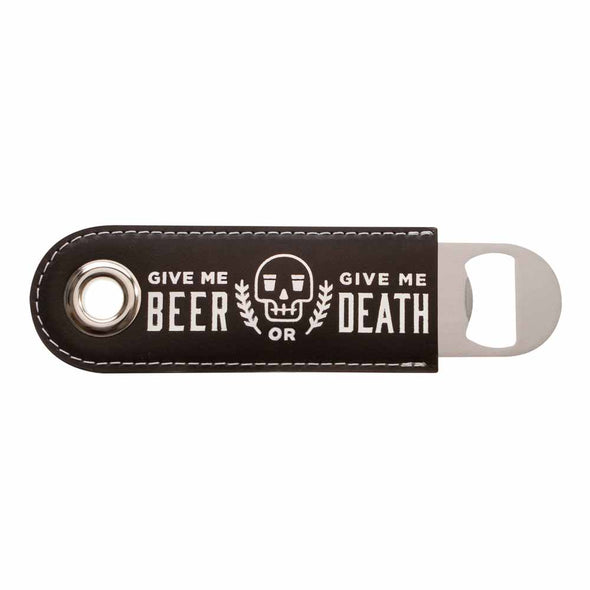 black leather wrapped bottle opener give me beer or give me death