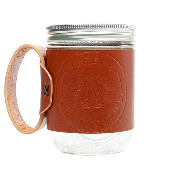 brown leather mason jar mug embossed with life is brewtiful