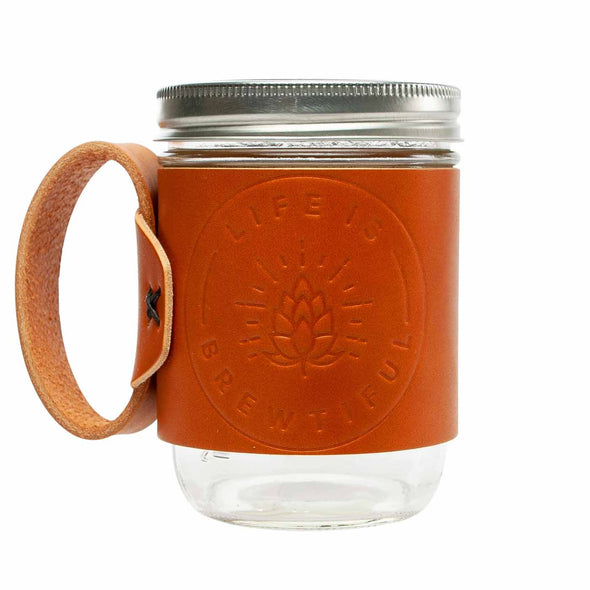 tan leather mason jar mug embossed with life is brewtiful
