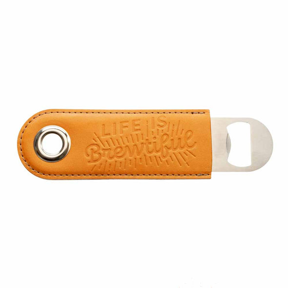 russet leather wrapped bottle opener embossed life is brewtiful