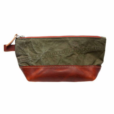 vintage leather with canvas dopp kit