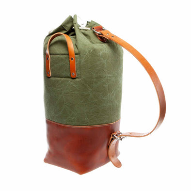 leather stand up duffel with vintage canvas