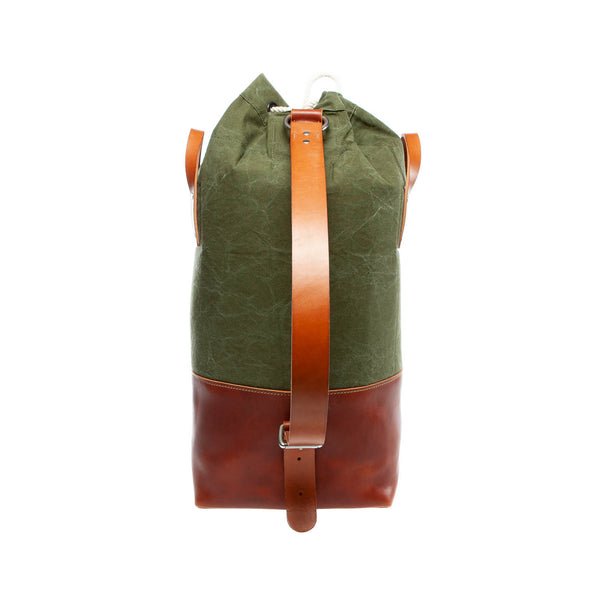 leather stand up duffel with vintage canvas front