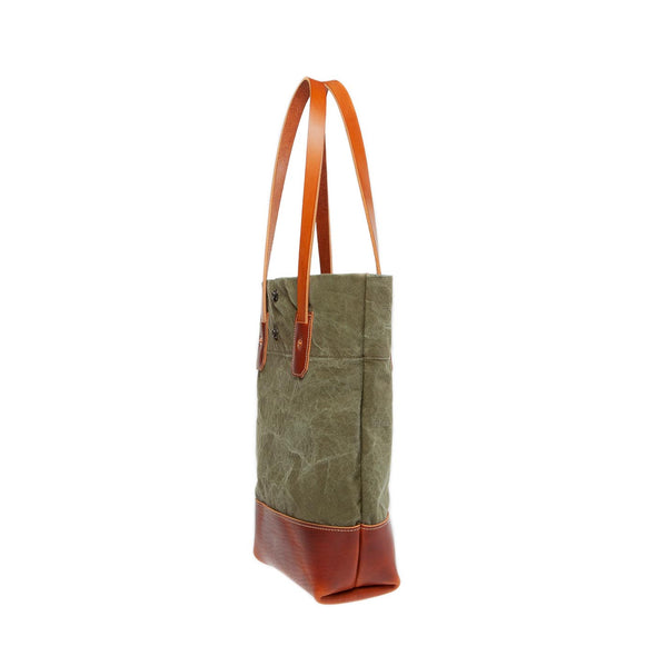 women's tote with leather and vintage military canvas side view