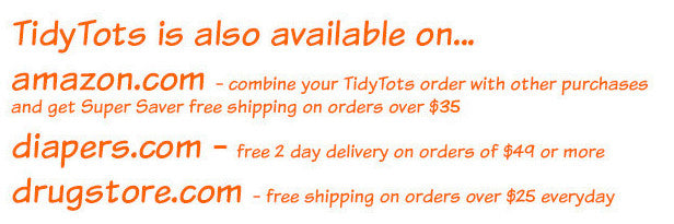 Tidy Tots are also availabe on amazon.com, diapers.com, and drugstore.com