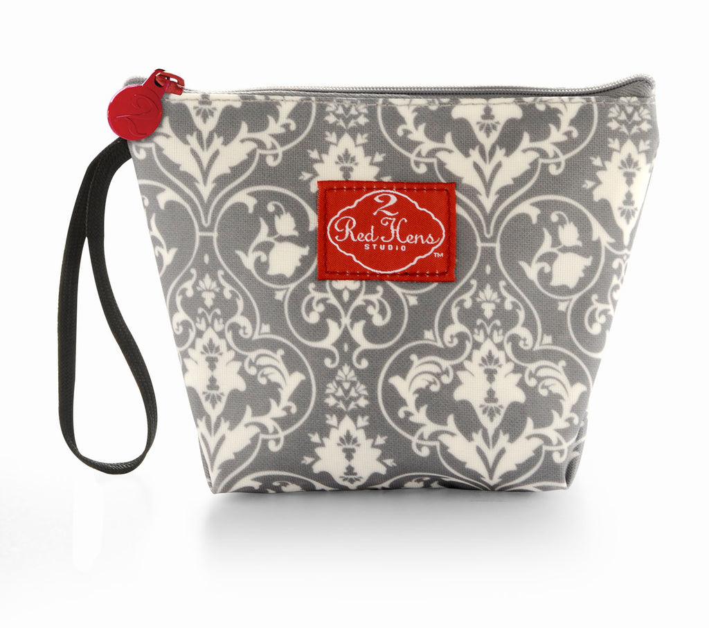 Grey Damask Snack Bag Pouch
