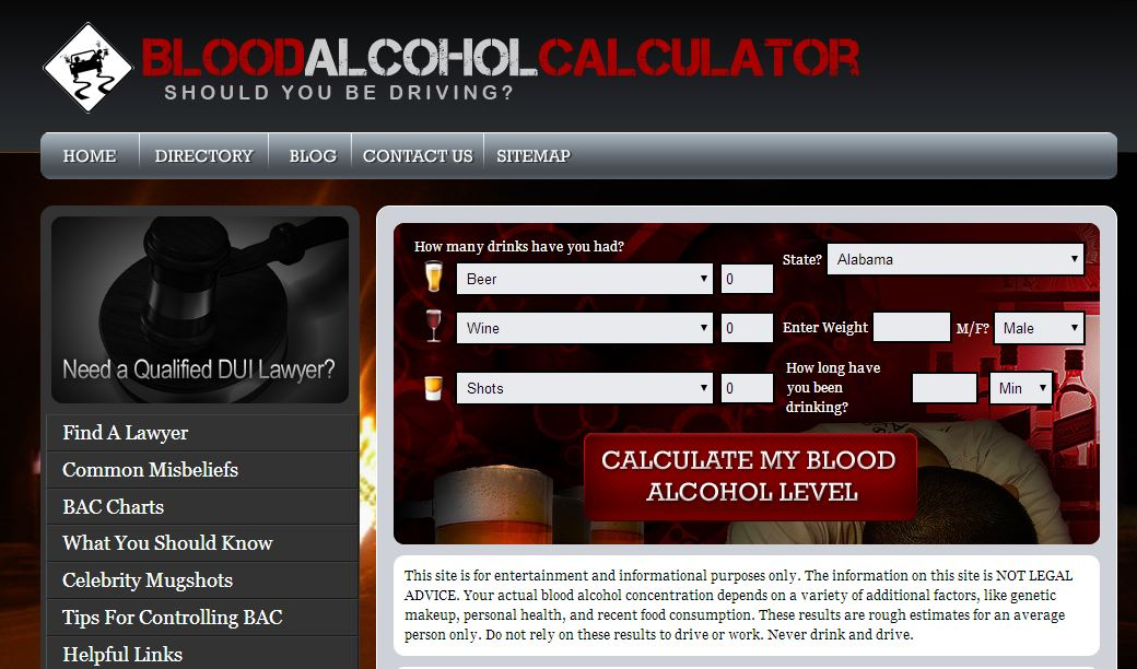 BAC calculator - blood alcohol content calculator