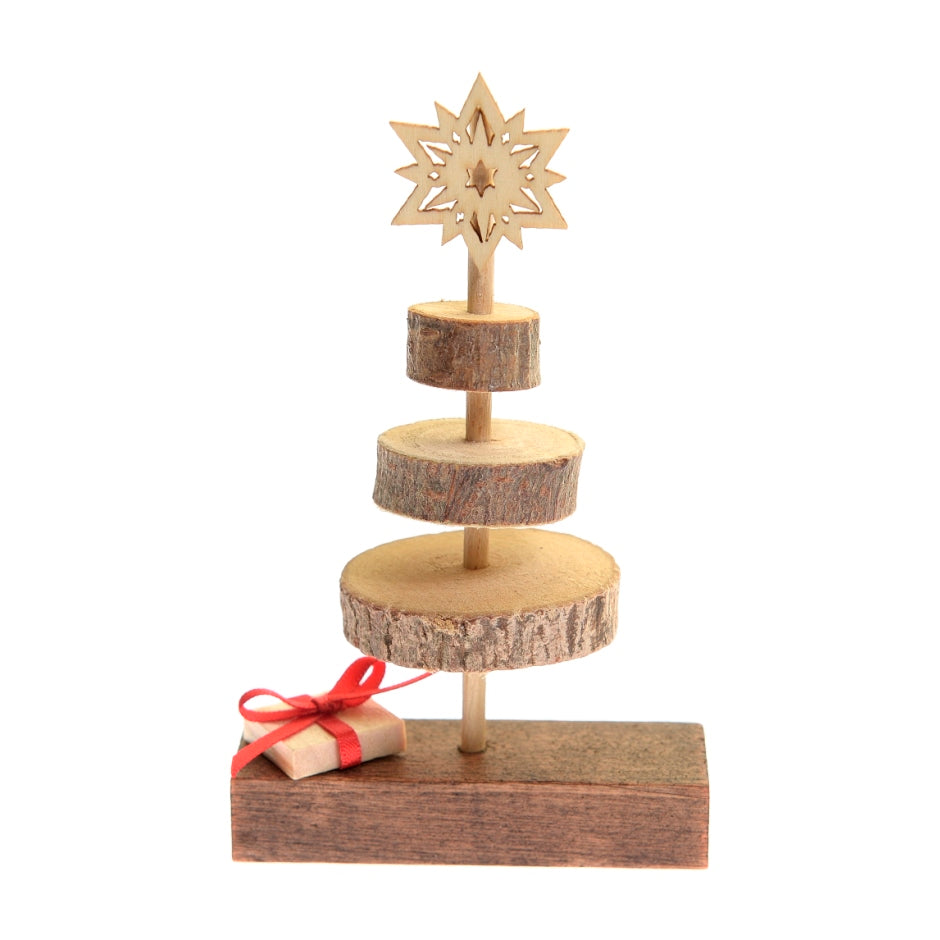 Wooden Christmas tree with present