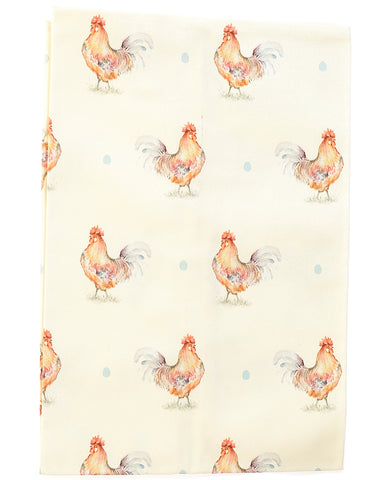 Cockerel tea towel