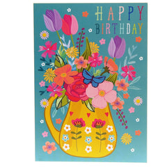 Happy birthday card – floral jug