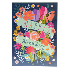 Happy birthday card – floral blue