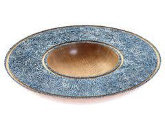Ash bowl with blue textured rim