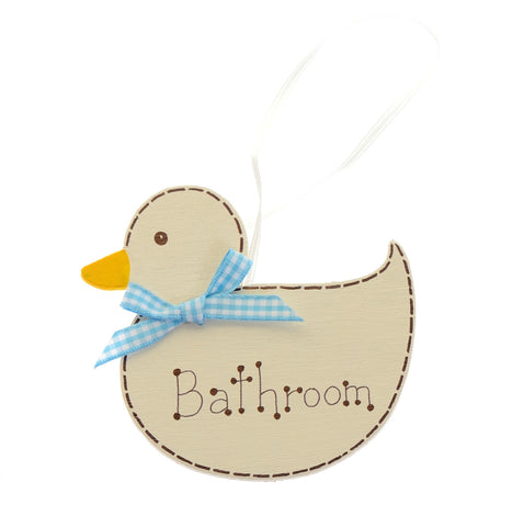 Bathroom hanging wooden duck sign