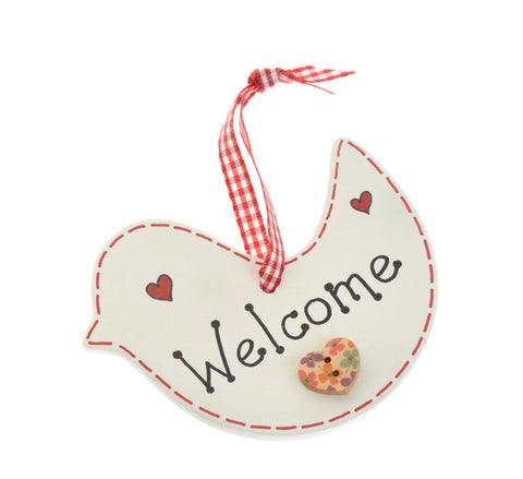 Ceramic bird welcome sign