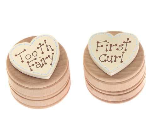 Blue first curl pot with lid and tooth fairy box with lid