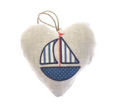 Blue yacht fabric heart