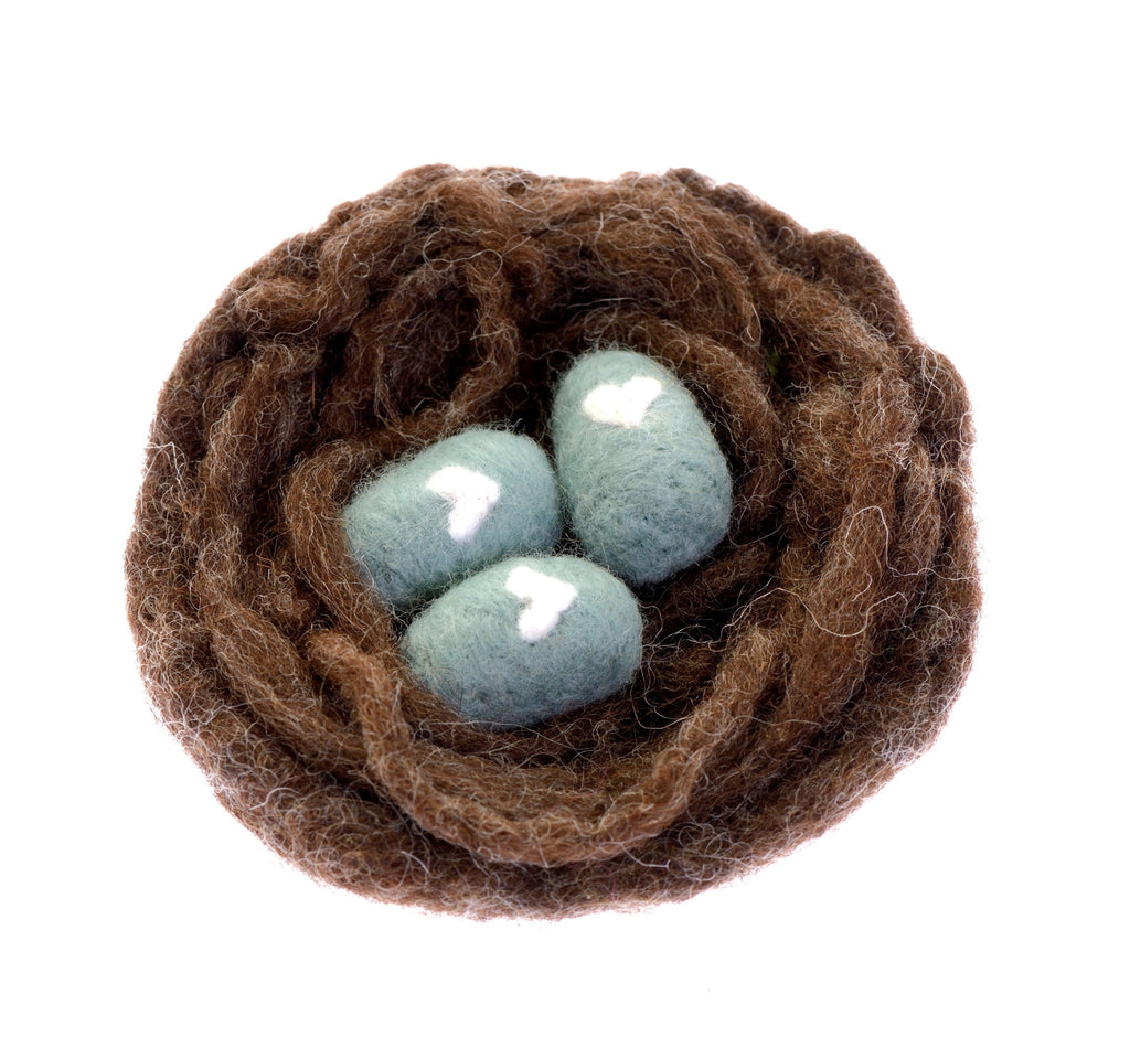 Felted nest and eggs with white hearts