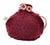 Burgundy knitted tea cosy with pink flower detail