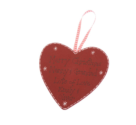 Personalised Christmas hanging heart