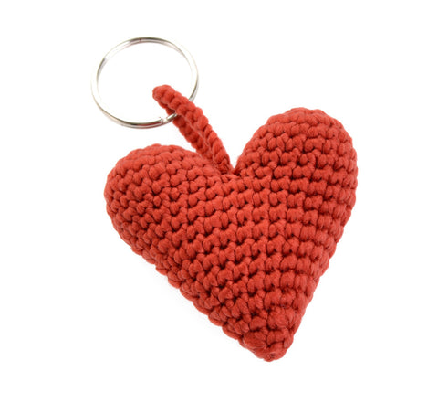Crochet heart key fob