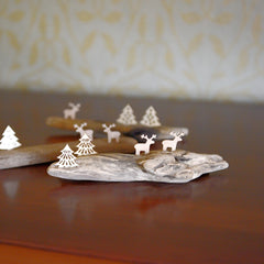 Driftwood with two trees and two reindeers