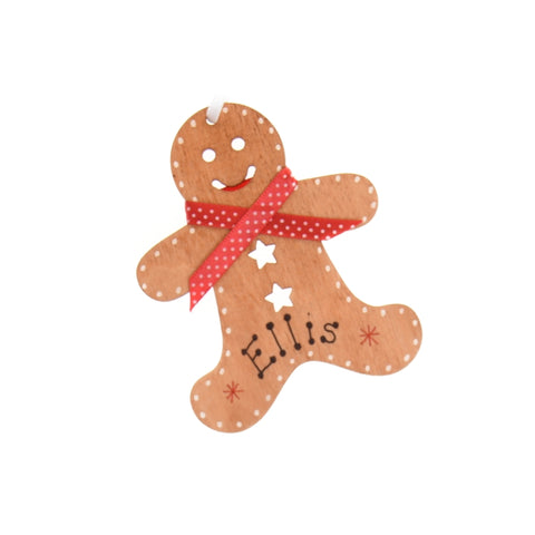 Gingerbread man hanging decoration – personalised