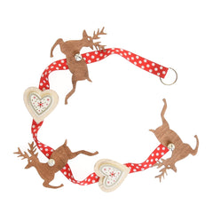 Ribbon with hanging hearts and leaping deer