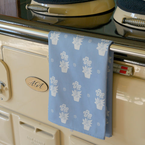 Primula print tea towel