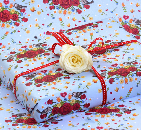 English roses and sparrows gift wrap