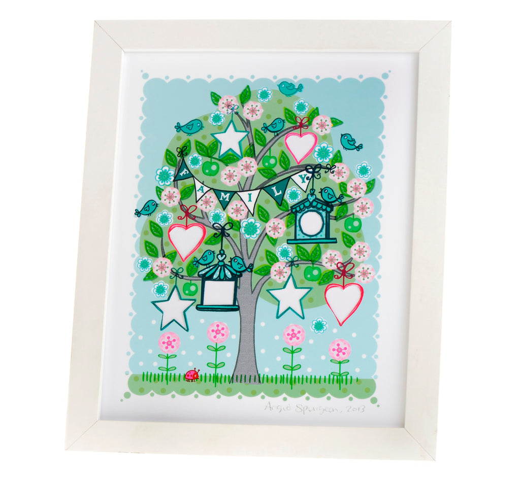 Family tree framed print by Angie Spurgeon