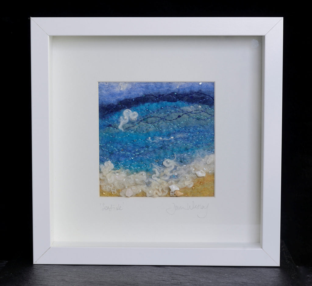 Wet felted seaside picture in 3D box frame