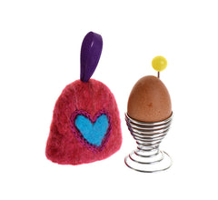 Felted heart bell egg cosy